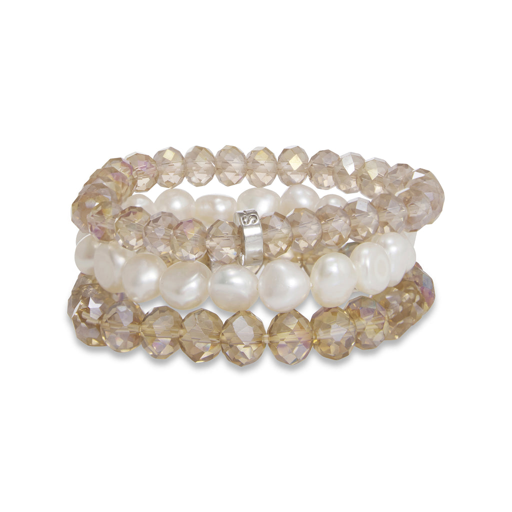 Marley Pearl and Crystal Three Piece Bracelet Set | Stones that Rock