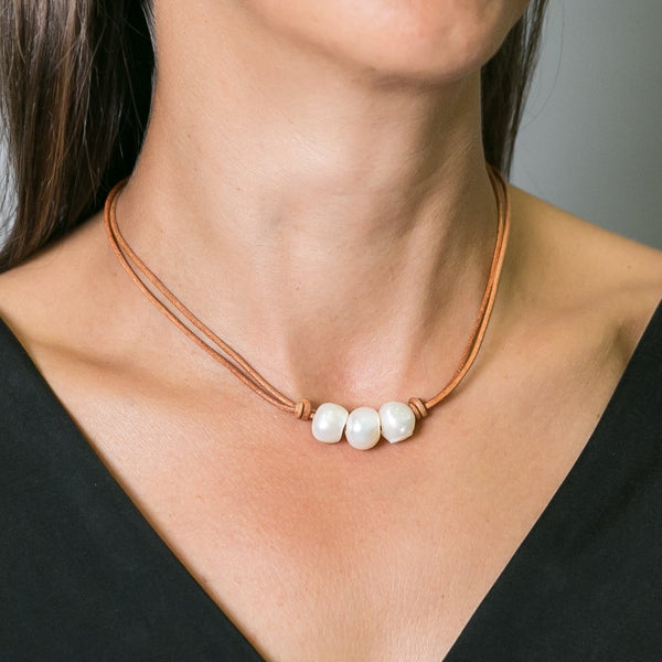 Maxim Pearl & Leather Short Necklace | Stones that Rock