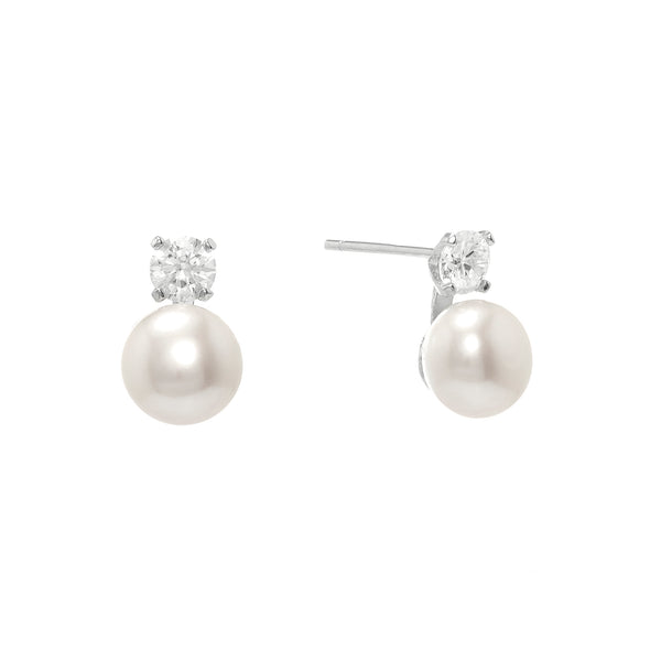 Pearl & Zirconia Stud Earrings | Stones that Rock