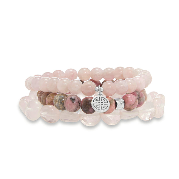 Hattie Rose Quartz Three Piece Stone Bracelet Set | Stones that Rock