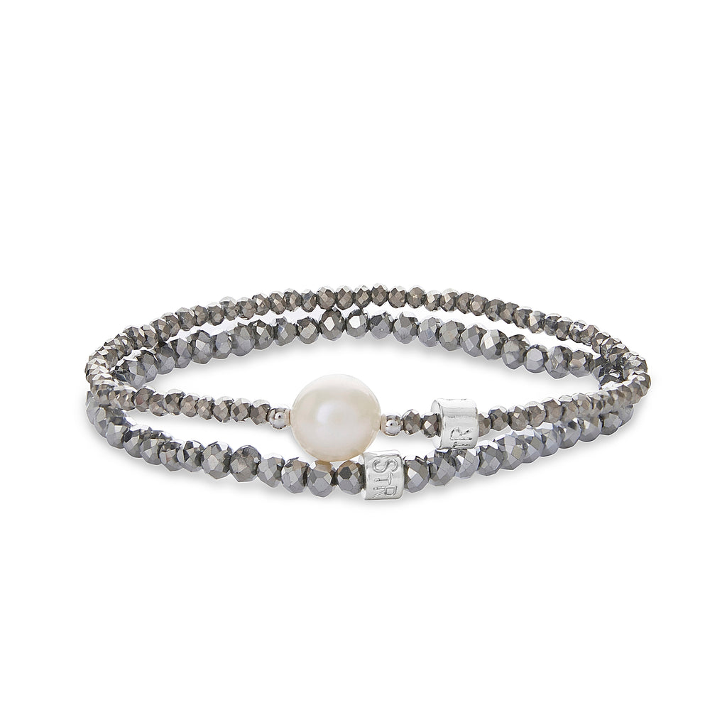 Pippa Two Piece Crystal and Pearl Bracelet Set | Stones that Rock