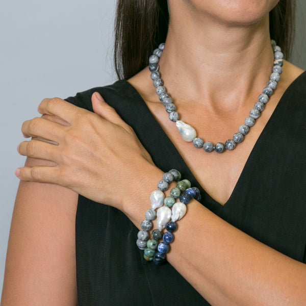 Rachel Grey Stone & Baroque Pearl Short Necklace | Stones that Rock