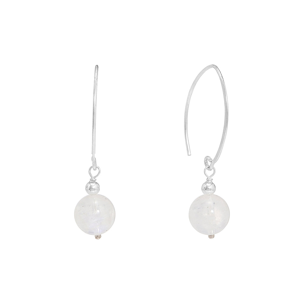 Moonstone Hoop Drop Earrings | Stones That Rock
