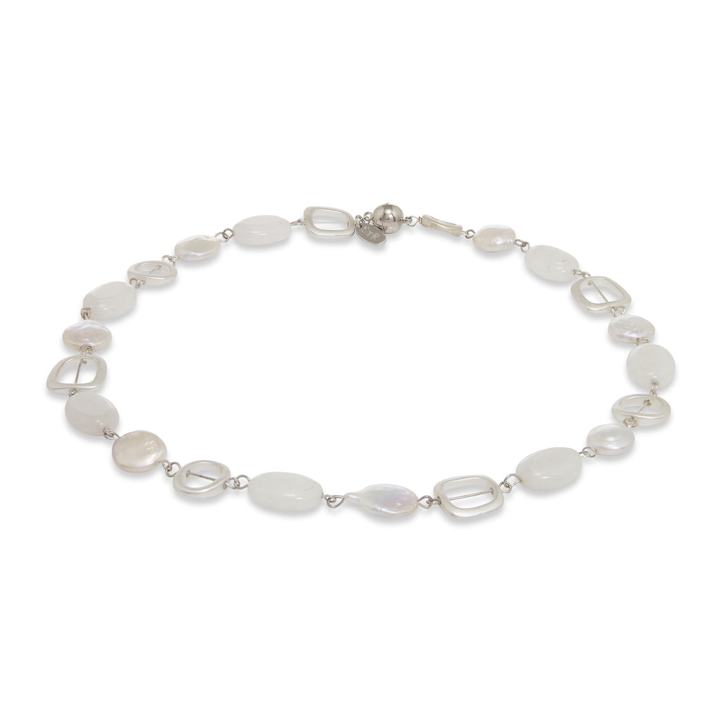 Jina White Stone & Pearl Short Necklace | Stones that Rock