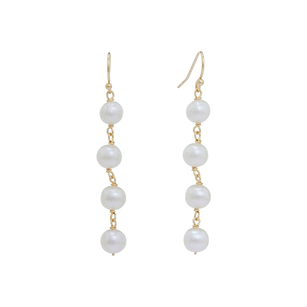 Pearl & Gold Link Drop Earrings | Stones That Rock
