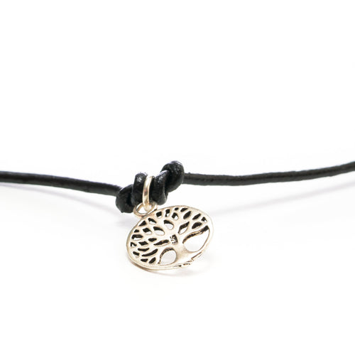 Skylar Silver Charm Leather Choker | Stones that Rock
