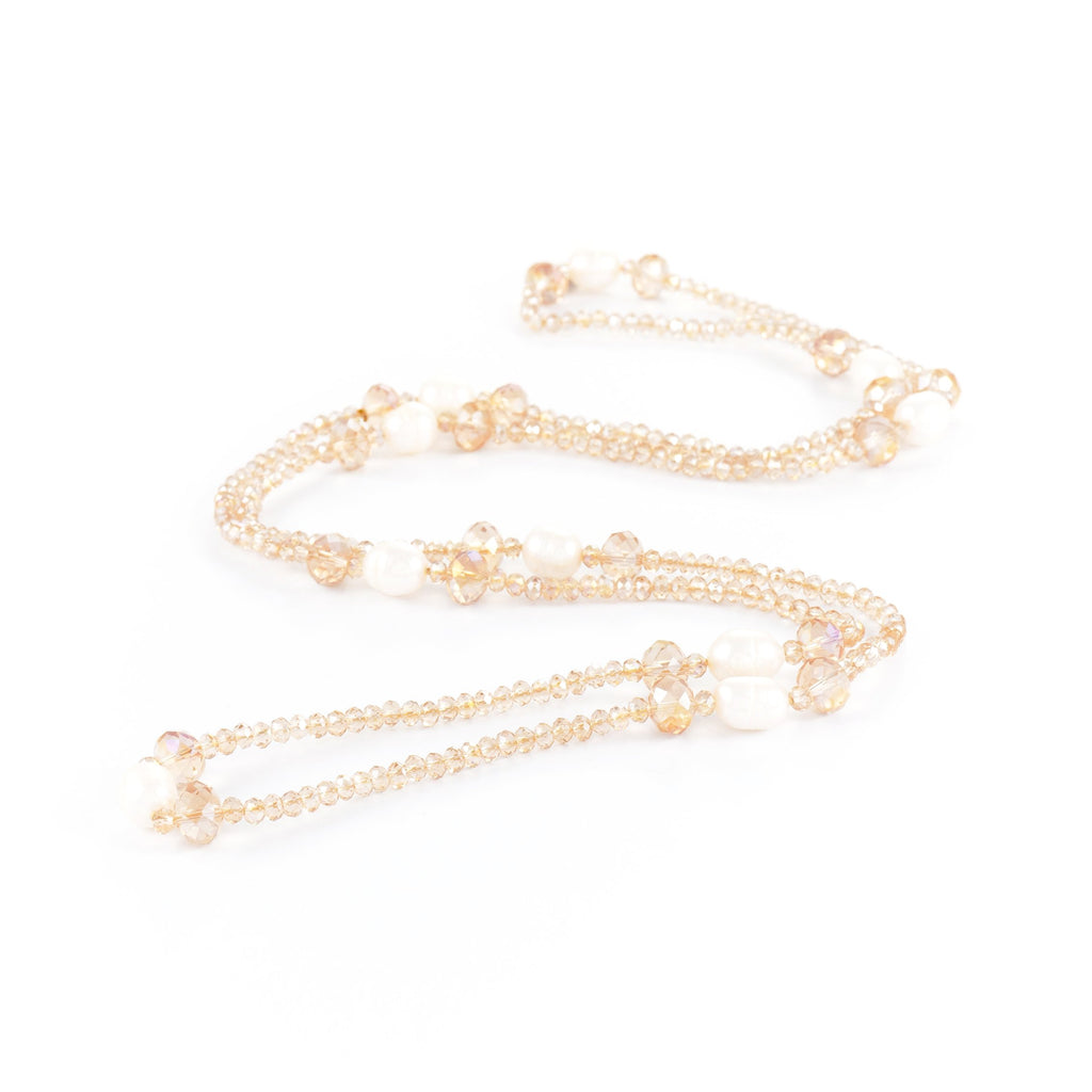 Tiggy Crystal & Pearl Long Necklace | Stones that Rock