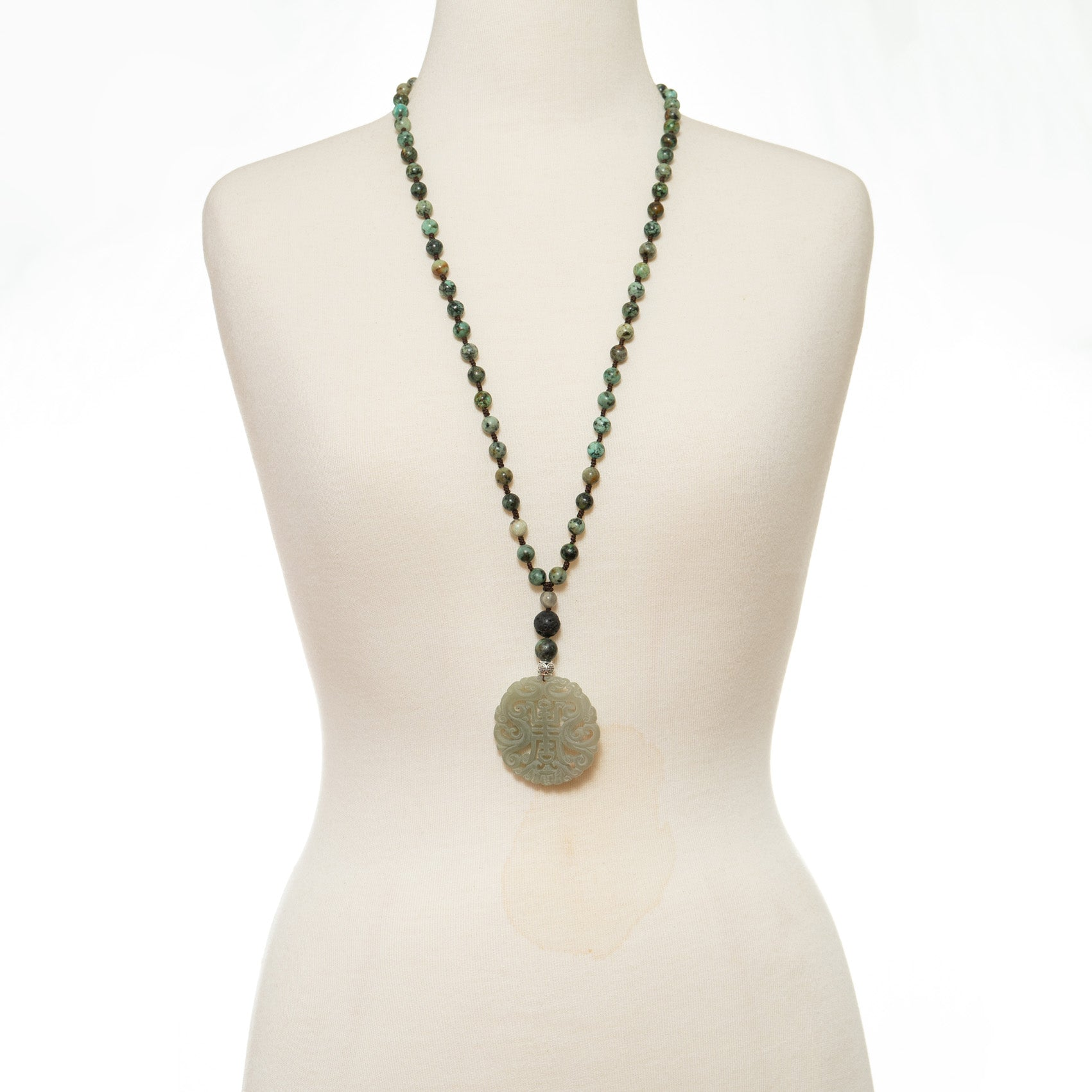 Most Happy Jade Green Stone Long Necklace | Stones that Rock