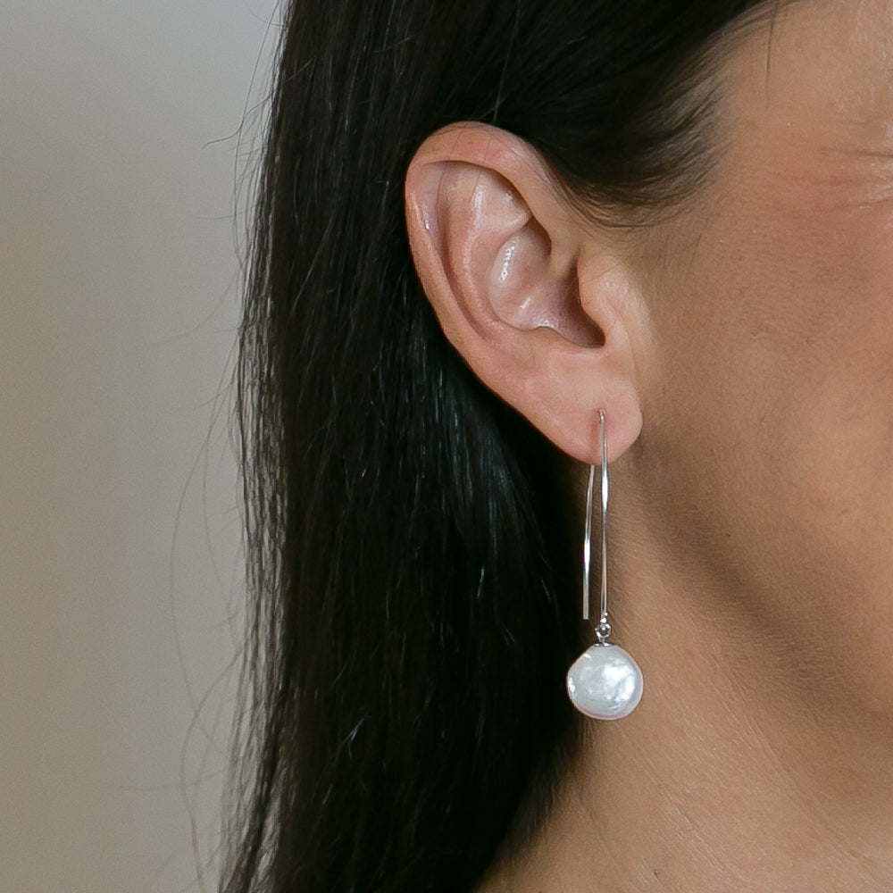 Coin Pearl Hoop Drop Earrings | Stones That Rock