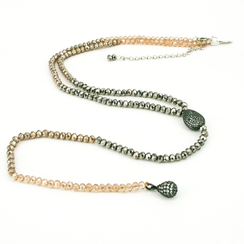 Chessy Long Crystal & Pave Necklace | Stones that Rock