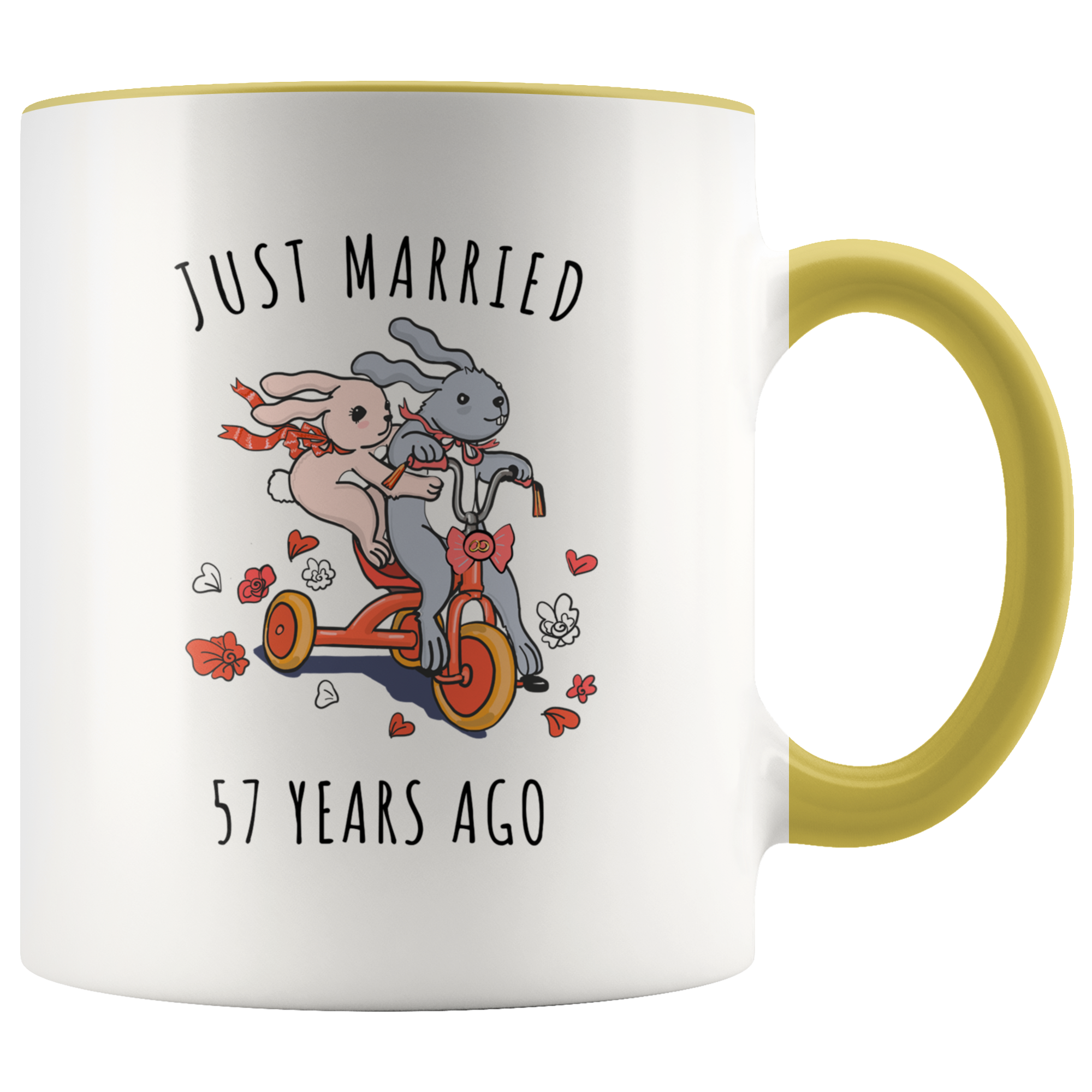Just Married 57 Years Ago - 57th Wedding Anniversary Gift Accent Mug
