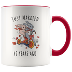Just Married 42 Years Ago - 42nd Wedding Anniversary Gift Accent Mug