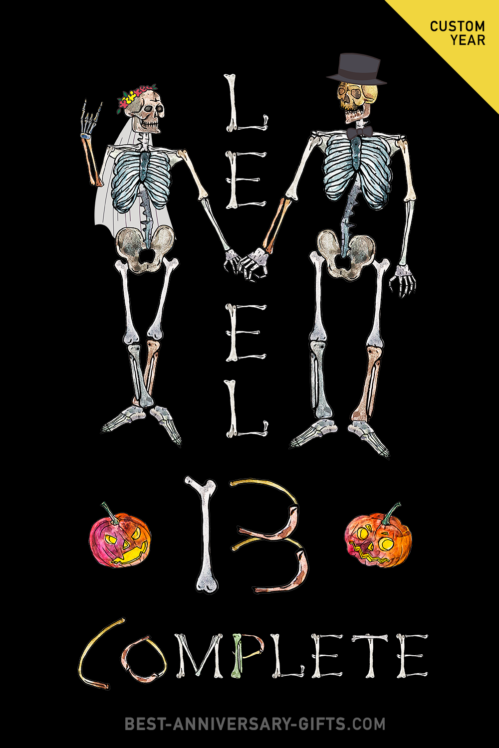 Level 13 Completed - Funny Skeletons Personalized Wedding Anniversary Clipart