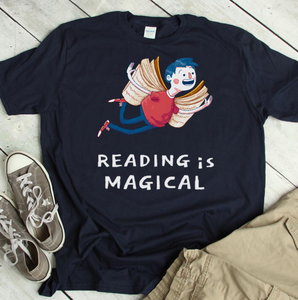 Reading is Magical Book Lover T-Shirt with a Flying Men