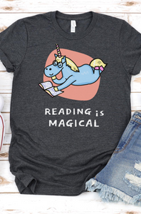 Reading is Magical Book Lover T-Shirt with a Bookworm Unicorn