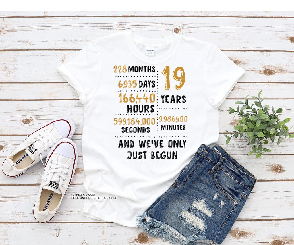19 Years Wedding Anniversary Gift for Couples /  PNG hi-resolution tee shirt design