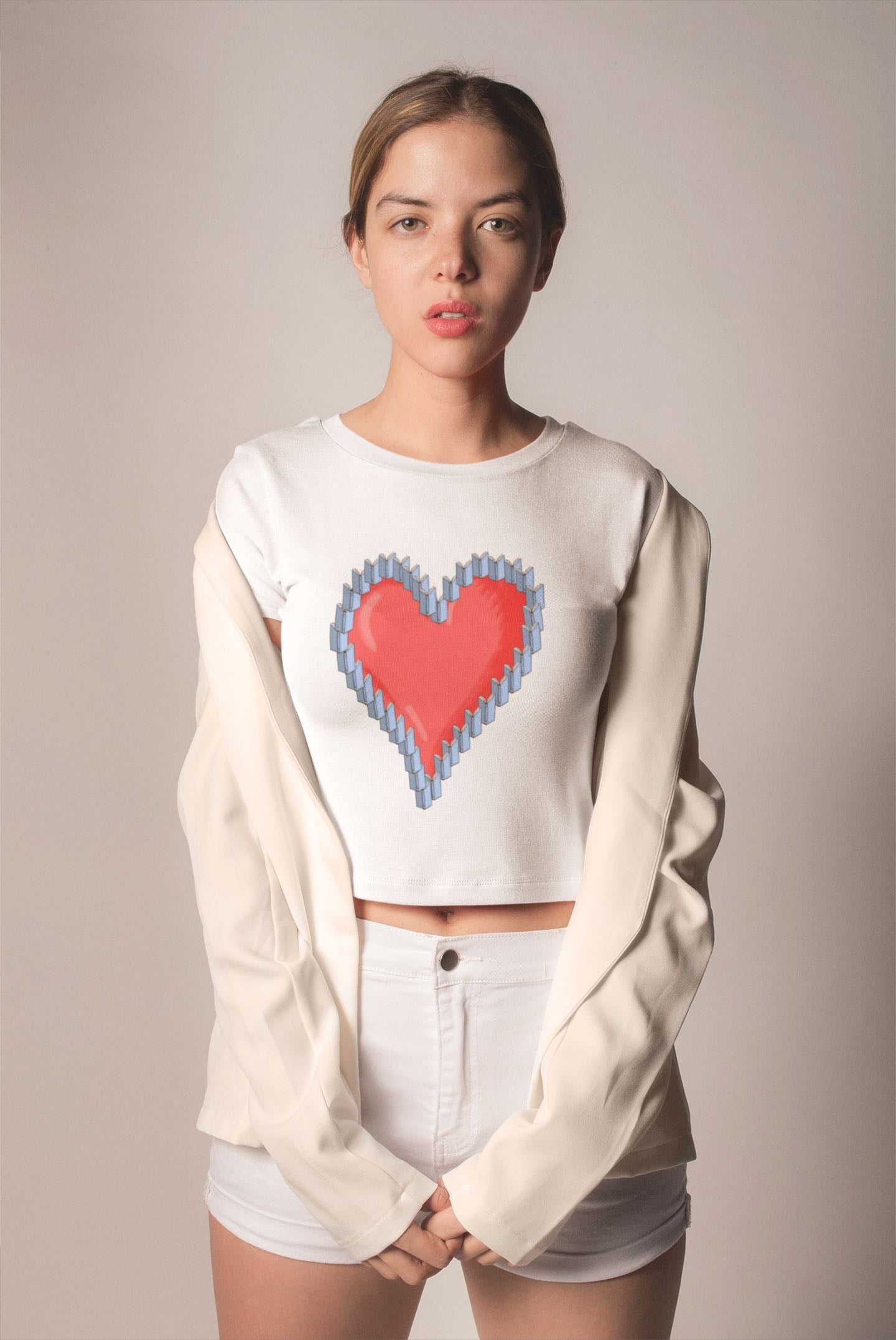 book lover crop top with heart