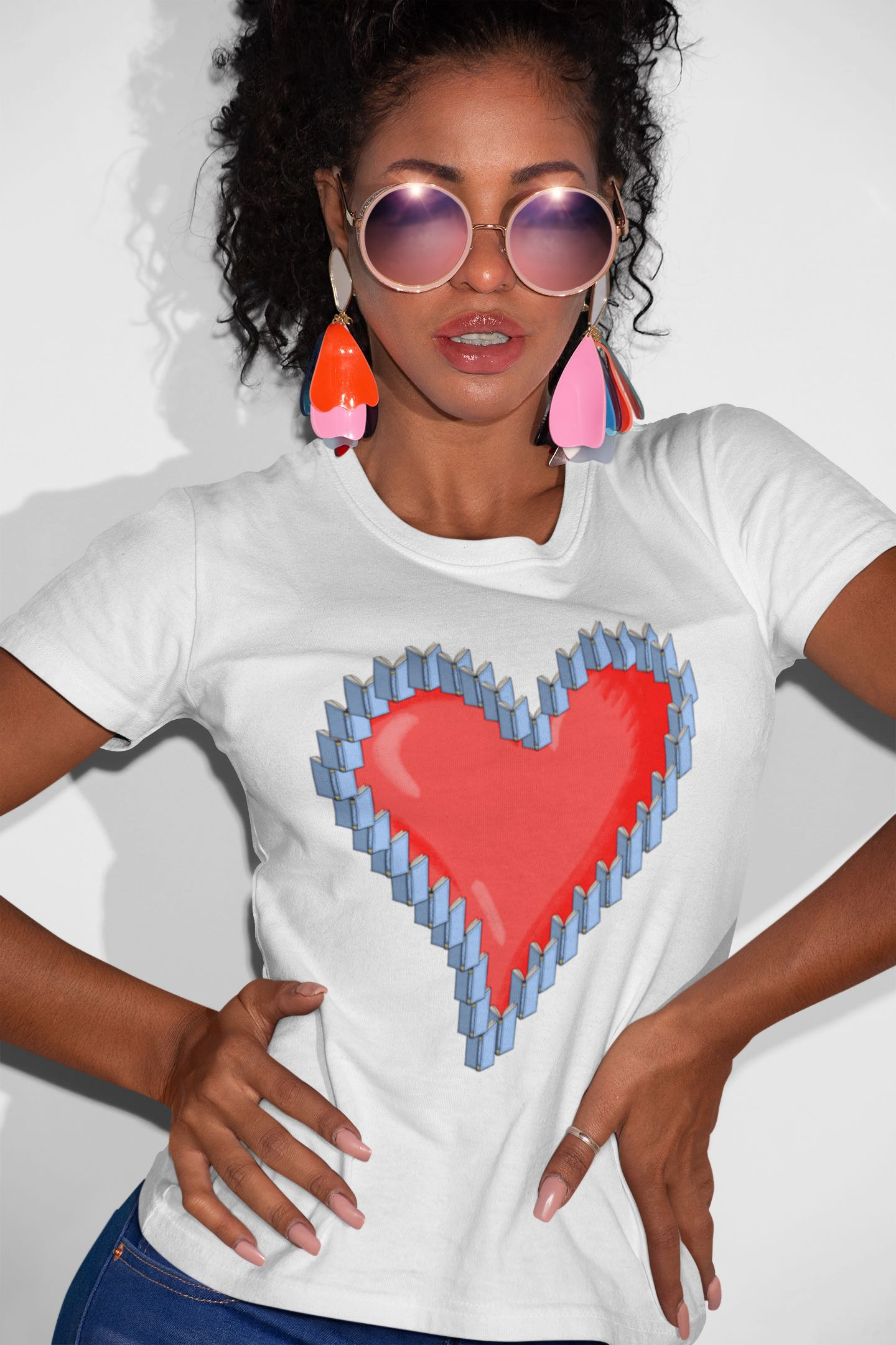 womens t-shirt with heart and books