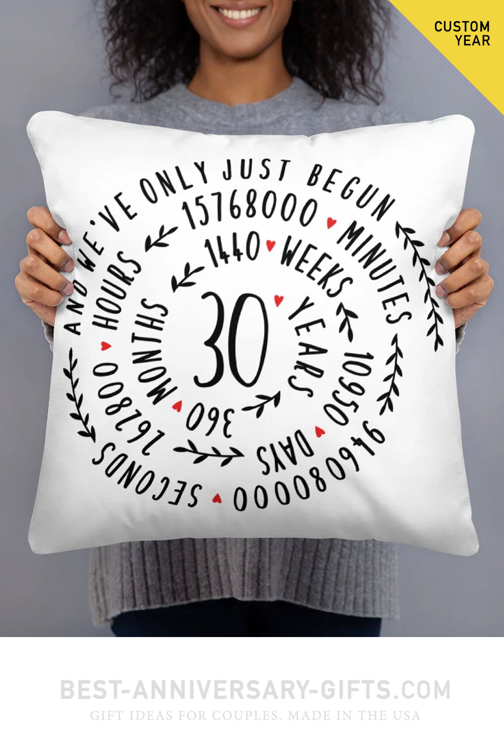 Anniversary gift ideas - 30th wedding Anniversary Pillow - Custom Year