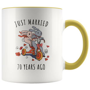 70th Wedding Anniversary.Just Married 70 Years Ago 70th Wedding Anniversary Gift Accent Mug