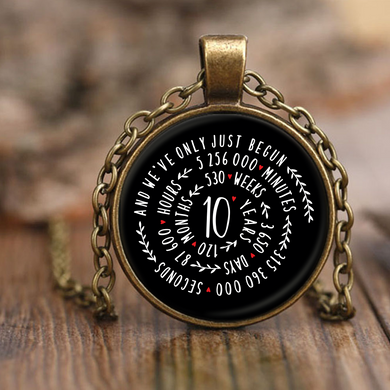 10th Wedding Anniversary Graphic Design Necklace Gift for Him or Her