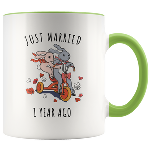 Just Married 1 Year Ago - 1st Wedding Anniversary Gift Accent Mug