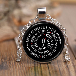 9th Wedding Anniversary Graphic Design Necklace Gift for Him or Her