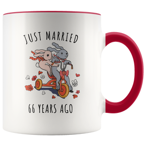 Just Married 66 Years Ago - 66th Wedding Anniversary Gift Accent Mug
