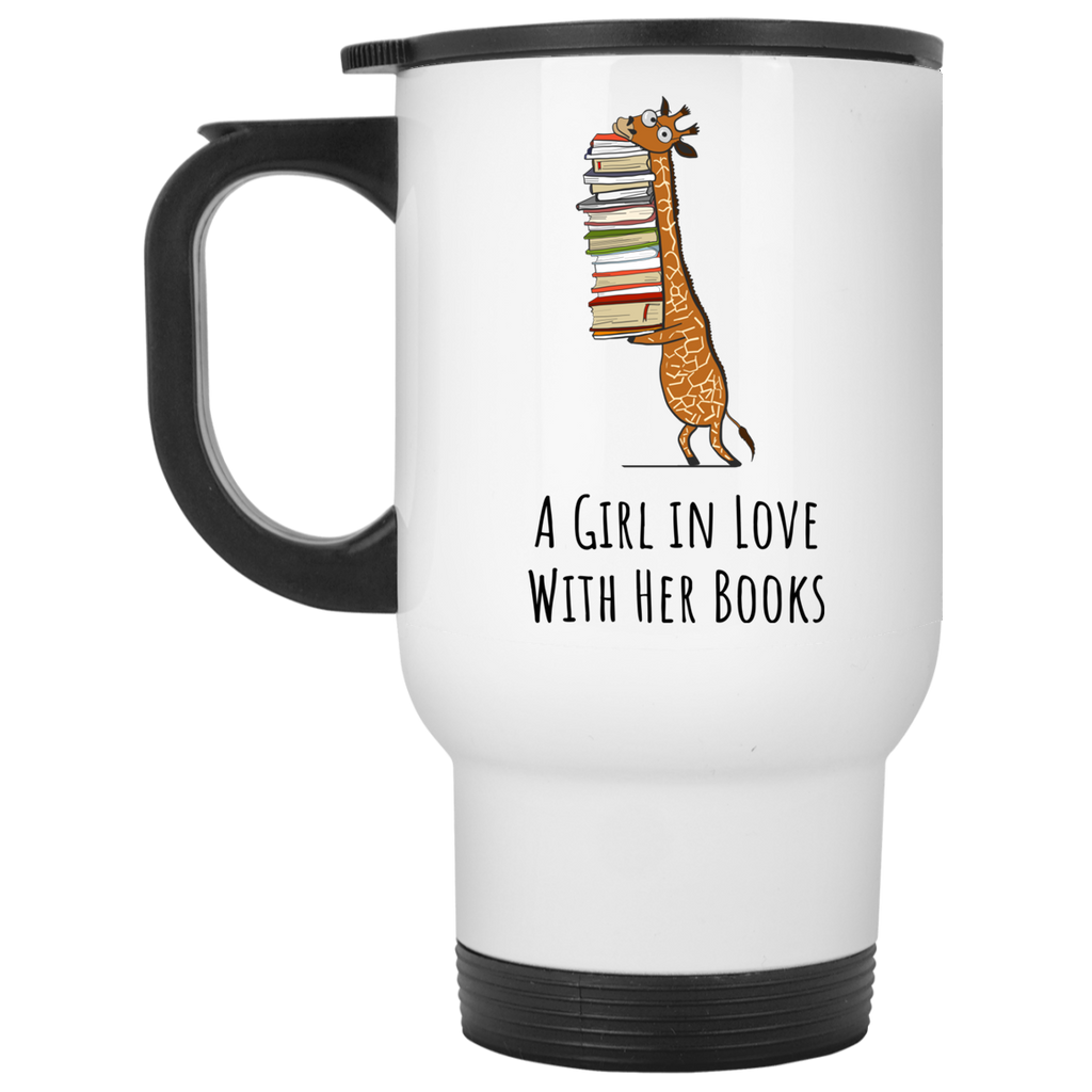 A Girl in Love with Her Books - White Travel Mug / Book Lover gift idea - Gift Ideas - Familymily.com
