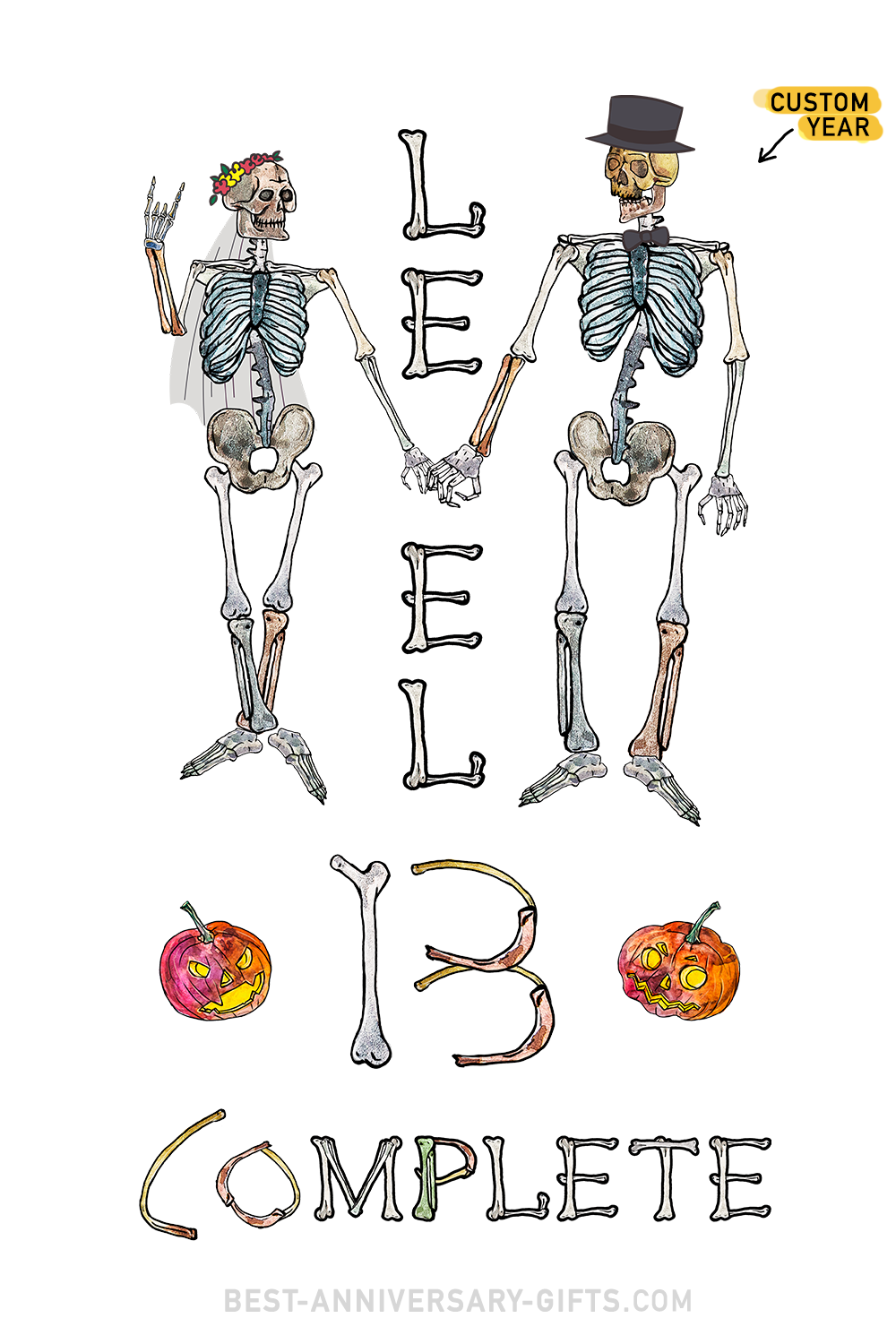 Level 13 Completed - Funny Skeletons Custom Wedding Anniversary PNG file