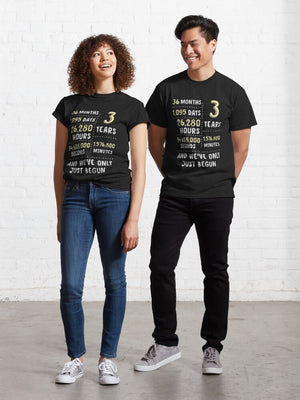 3rd Wedding Anniversary Gift T-Shirt for Husband and Wife