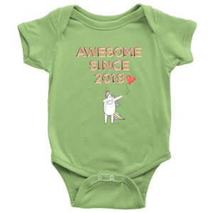 Awesome Since 2019 With Dabbing Unicorn / Baby Bodysuit
