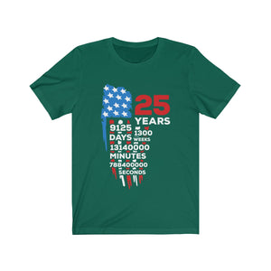 25th anniversary gifts - Countdown Unisex T-Shirt, Birthdays or Wedding Anniversaries