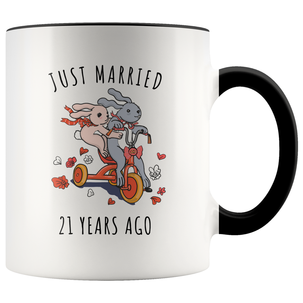 Just Married 21 Years Ago - 21st Wedding Anniversary Gift Accent Mug