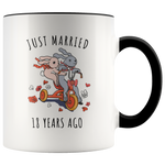 Just Married 18 Years Ago - 18th Wedding Anniversary Gift Accent Mug