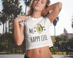 Girls Fitness Crop Top Funny Avocado Lifting Gym Clothing