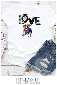 I Love Australia Bulldog Lover Tee Shirt for Adults