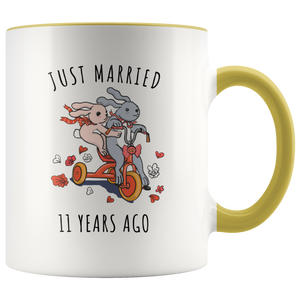 Just Married 11 Years Ago - 11th Wedding Anniversary Gift Accent Mug