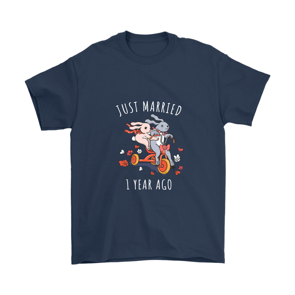Just Married 1 Year Ago Wedding Anniversary Couples Gift Unisex T Shirt Navy