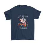 Just Married 2 Years Ago Wedding Anniversary Couples Gift Unisex T Shirt Navy