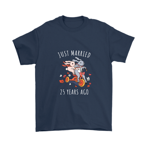 Just Married 25 Years Ago Wedding Anniversary Couples Gift Unisex T Shirt Navy