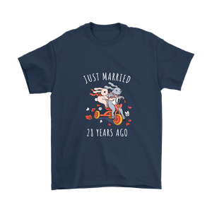 Just Married 28 Years Ago Wedding Anniversary Couples Gift Unisex T Shirt Navy