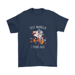 Just Married 7 Years Ago Wedding Anniversary Couples Gift Unisex T Shirt Navy