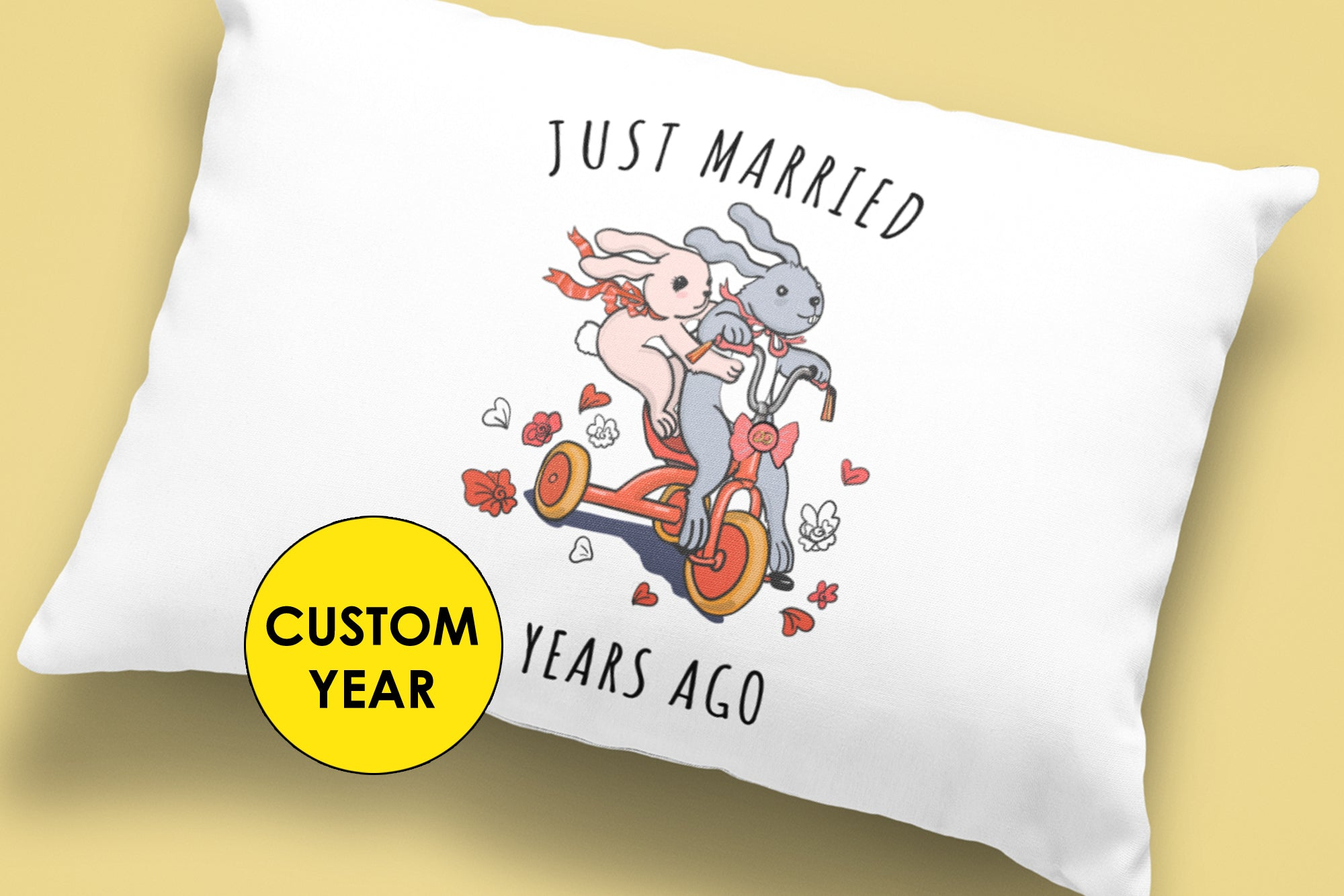 Wedding Anniversary Gift for Parents - Basic Pillow, Custom Year, Cute Design