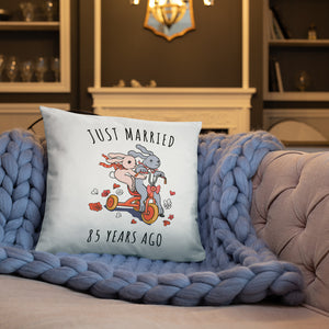 Just Married 85 Years Ago - Wine Wedding Anniversary Couple Bunnies Basic Pillow Gift