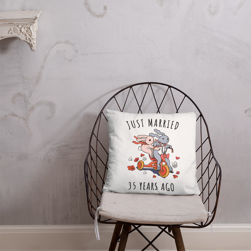 Just Married 35 Years Ago - Amazing Coral Wedding Anniversary Couple Bunnies Basic Pillow Gift