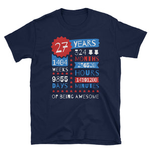 27 Years Of Being Awesome - 27th Birthday Gift Tee - Gift Ideas - Familymily.com