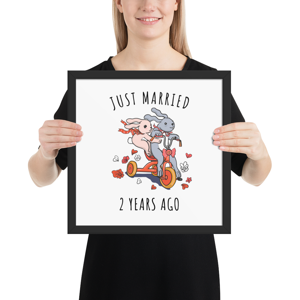 Just Married 2 Years Ago Couple Frame Poster - Gift For 2nd Cotton Wedding Anniversary