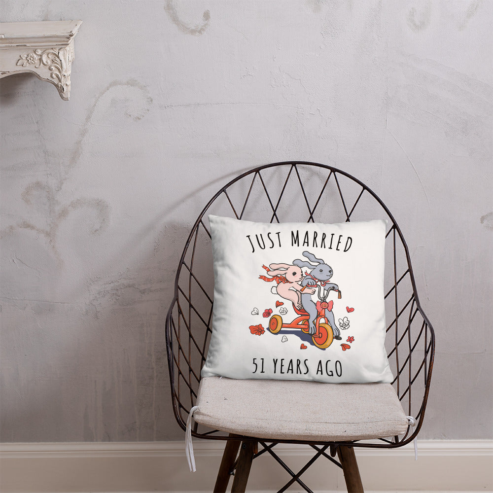 Just Married 51 Years Ago - Glorious Wedding Anniversary Couple Bunnies Basic Pillow Gift