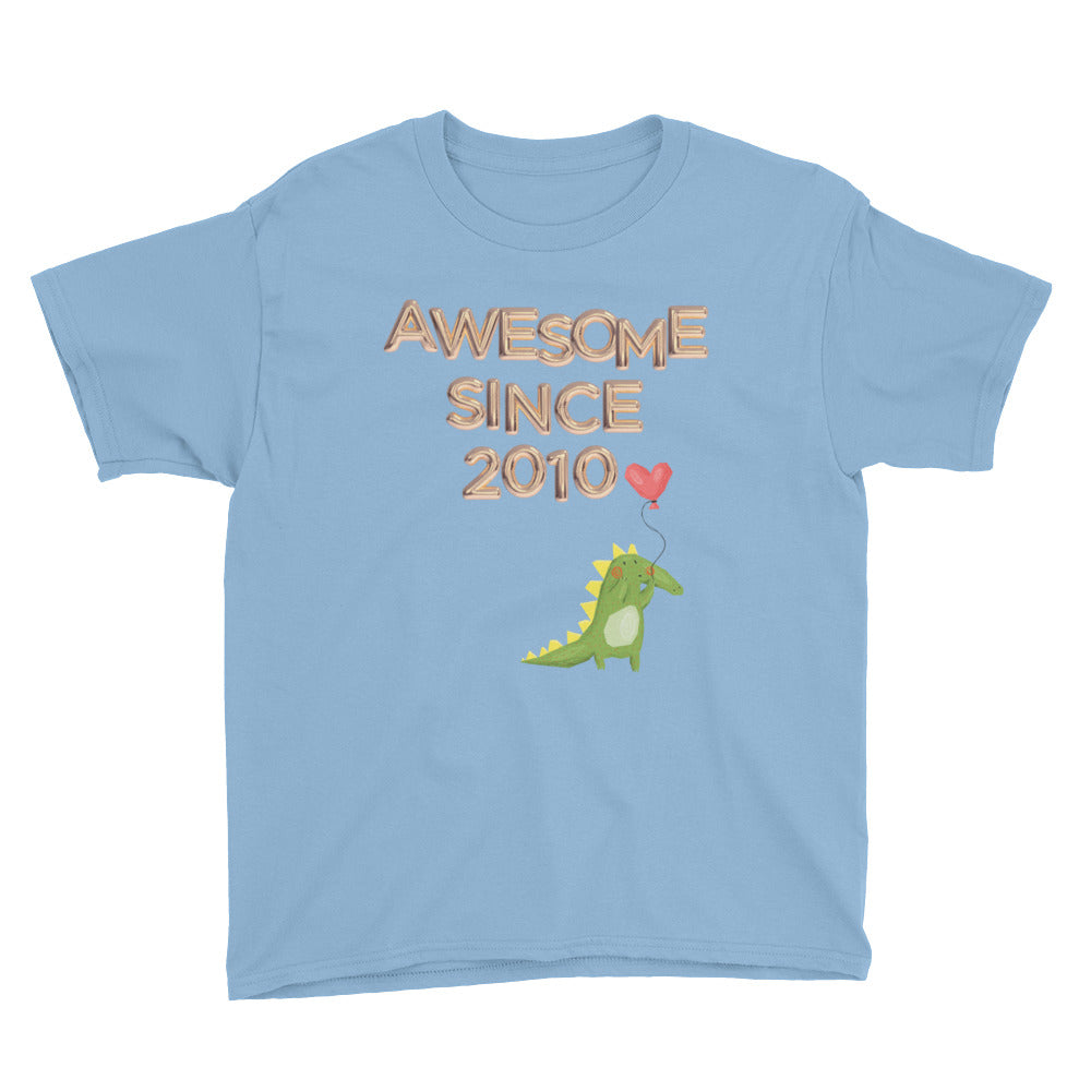 Awesome Since 2010, 9th B-Day Gift tee for boys, Dinosaur 9 birthday tshirt, Balloon Letters, Born in 2010, Boys, Youth Short Sleeve T-Shirt